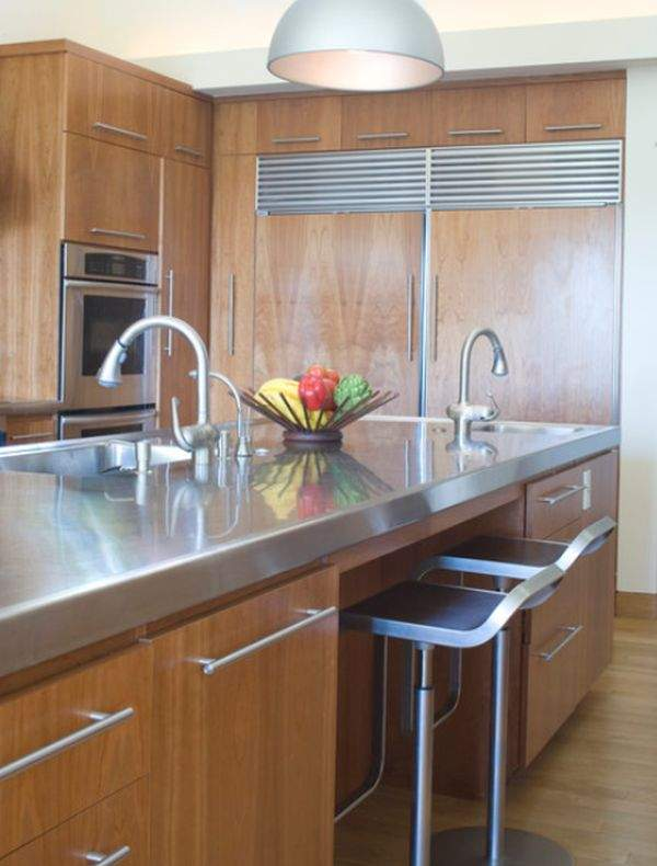 Furniture And Accessories From Stainless Steel In Modern Kitchen