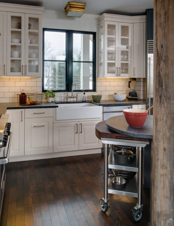 Amazing beauty of natural wood - stunning kitchen interior in a modern rustic style with a non-standard layout