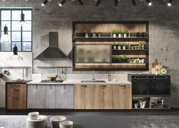 A new interpretation of the industrial and country style in the kitchen interior layout loft