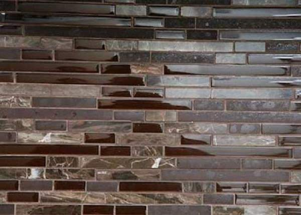 Brown glass tile interior of the kitchen - unattainable for many family-financial compromise