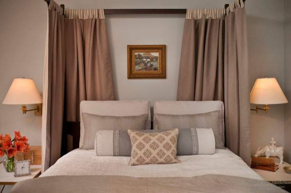 Design of curtains in the bedroom