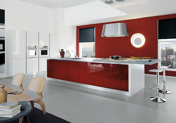 Fiery sunset in the elements of the kitchen interior - solid confidence of noble red color