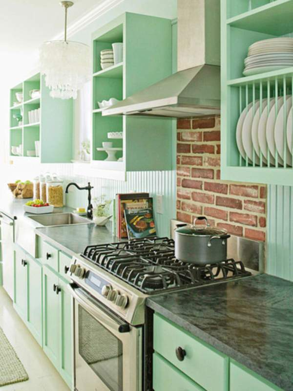 How sweet! Pastel colors in the interior of the kitchen