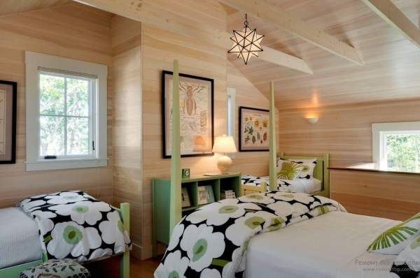 Interior and design of a green bedroom