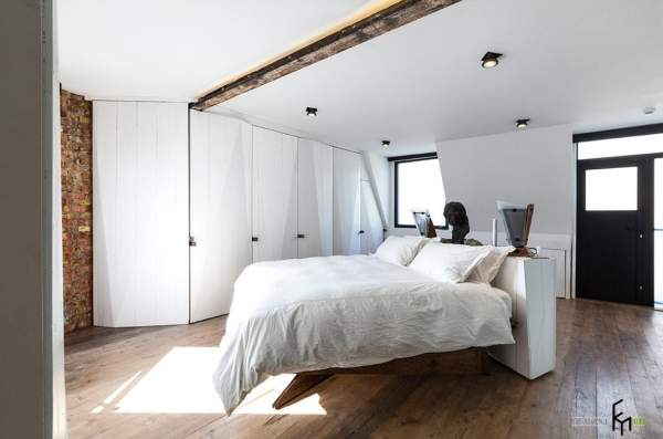 Loft style in the interior of a modern bedroom