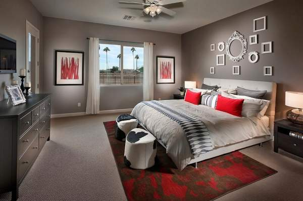 Luxury designs 19 bedrooms in red and gray shades will shock the imagination of any