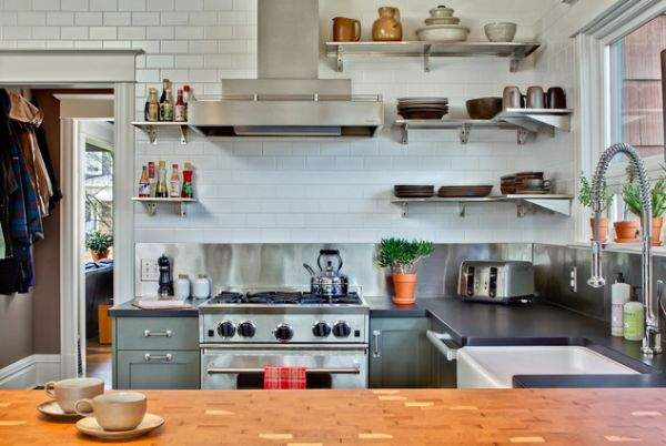 Open shelves in the interior of the kitchen: beautiful, comfortable and functional