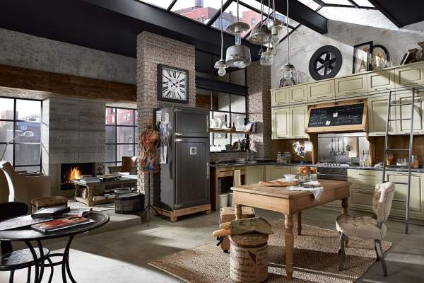 Out-of-Time Design or Kitchen in Vintage Style