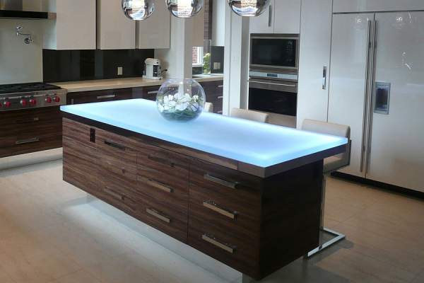 The actual trend in kitchen design is the stunning glass countertops that change the notion of brittle material