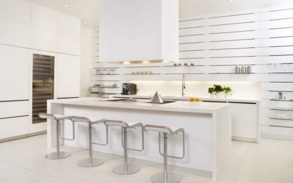 The best kitchens in the snow-white palette are chic, glitter and charm, without which modern interior is unthinkable