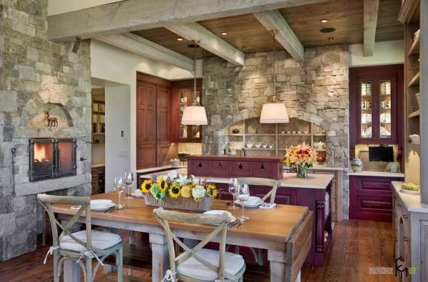 The use of stone in the interior design of a country house
