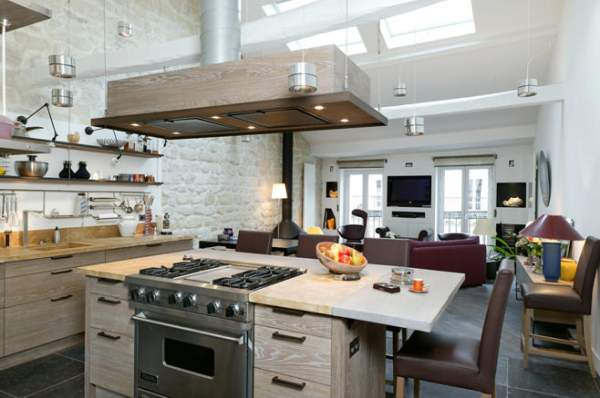 Unique interiors of modern kitchens in loft style