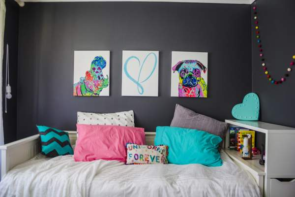 . Rainbow decoration of the bedroom for the girl   bright interior of